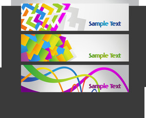 Vector Set Of Three Colorful Abstract Banner