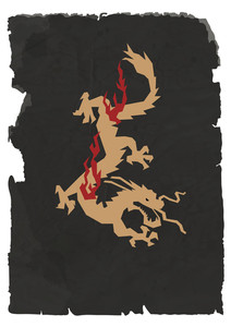 Vector Sheet Of Black Torn Paper With Chinese Dragon