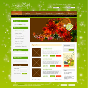 Vector Shopping Cart Website Design Template