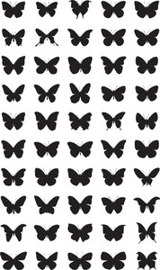 Vector Silhouettes Of Butterflies