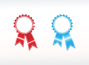 Vector Silver Award Ribbons Red And Blue
