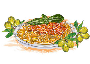 Vector Spaghetti Whith Tomato Sauce