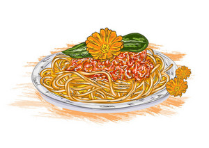 Vector Spaghetti Whith Tomato Sauce