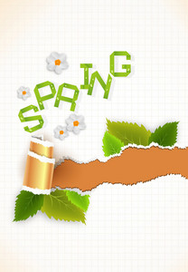 Vector Spring Background With Torn Cardboard