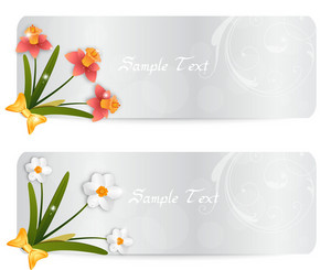 Vector Spring Banners With Flowers