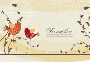 Vector Spring Floral Background With Birds