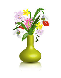 Vector Spring Flowers In Vase