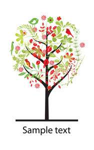 Vector Spring Illustration With Colorful Tree