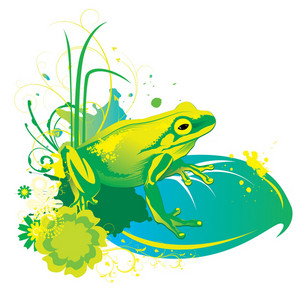 Vector Spring Illustration With Frog