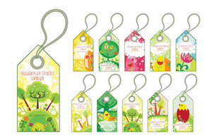 Vector Spring Tags Set