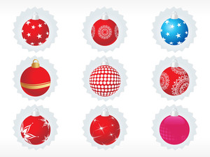 Vector Sticker Set Of Christmas Ball