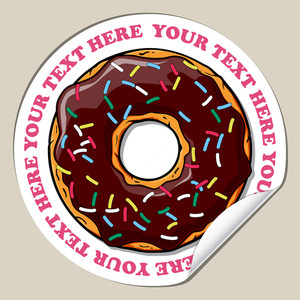 Vector Sticker With Cartoon Donut.