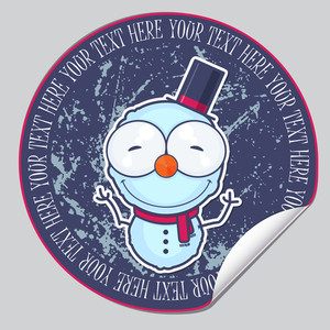 Vector Sticker With Cartoon Snowman.