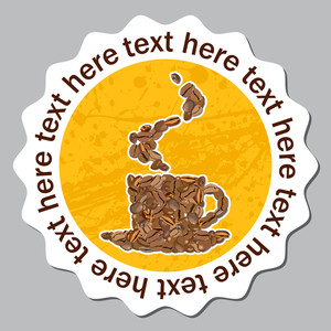Vector Sticker With Cup From Coffee Bean.