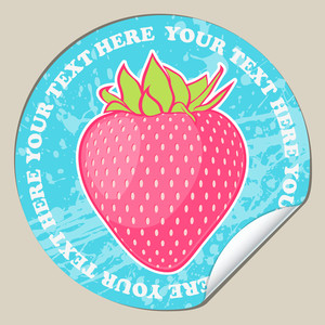Vector Sticker With Strawberry.