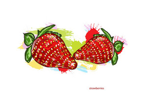 Vector Strawberries With Colorful Splashes