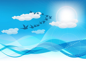 Vector Summer Background With Birds