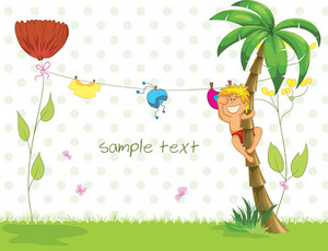 Vector Summer Background With Boy In Palm Tree