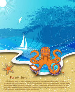 Vector Summer Background With Octopus
