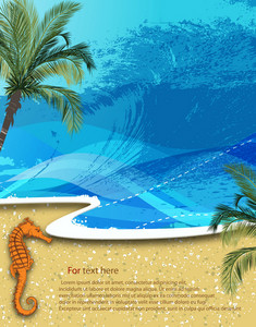 Vector Summer Background With Seahorse
