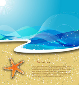 Vector Summer Background With Star Fish
