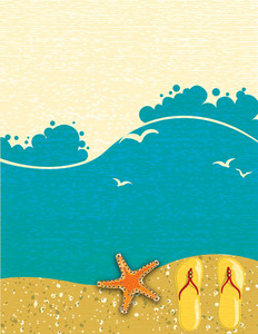 Vector Summer Background With Starfish
