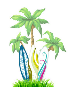 Vector Summer Background With Surf Boards