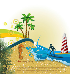 Vector Summer Background With Surfer