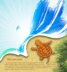 Vector Summer Background With Turtle