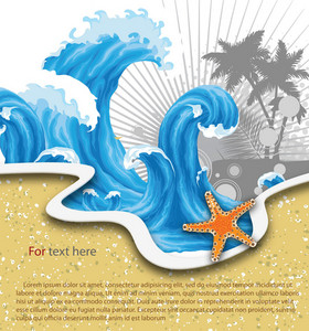 Vector Summer Background With Waves