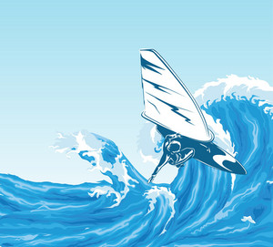 Vector Summer Background With Wind Surfer