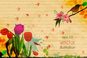 Vector Summer Floral Background