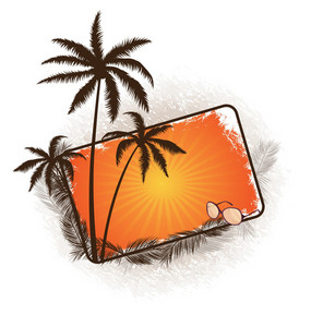 Vector Summer Frame With Palm Trees