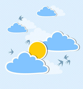 Vector Summer Illustration With Clouds