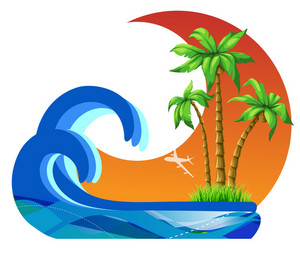 Vector Summer Illustration With Palm Trees
