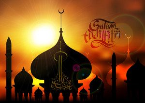 Vector Sunset Mosque Silhouettes. Translation: Aidilfitri Greetings