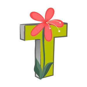 Vector T Alphabet With Flower