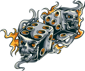 Vector T-shirt Design With Dice On Fire