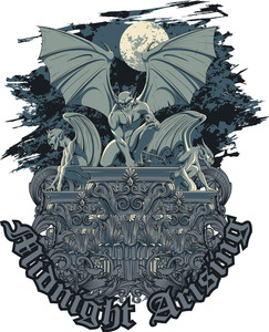 Vector T-shirt Design With Gargoyles