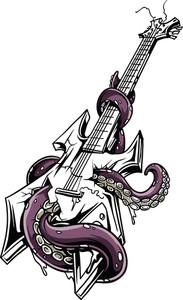 Vector T-shirt Design With Guitar
