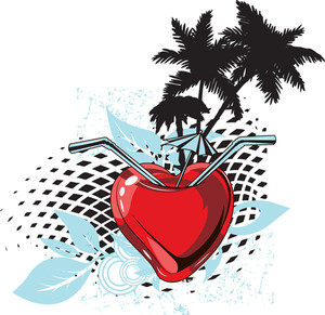 Vector T-shirt Design With Heart And Palm Trees