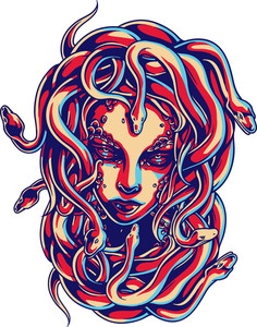 Vector T-shirt Design With Medusa Head