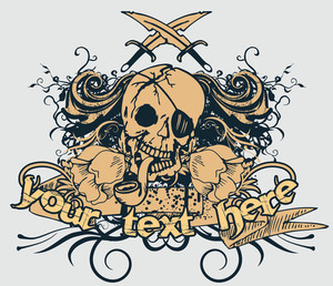 Vector T-shirt Design With Pirate Skull