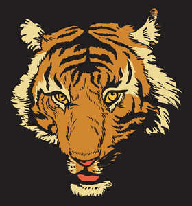 Vector T-shirt Design With Raging Tiger