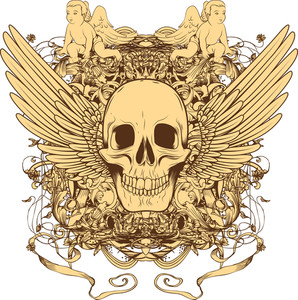 Vector T-shirt Design With Skull And Wings
