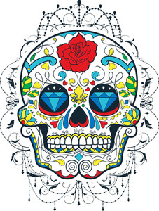 Vector T-shirt Design With Sugar Skull