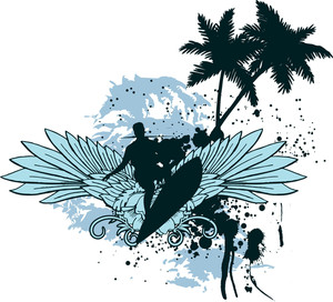 Vector T-shirt Design With Surfer