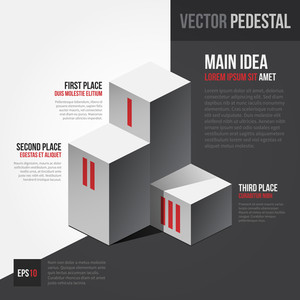 Vector Template With Isometric Pedestal. Eps10.