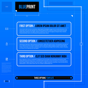 Vector Template With Three Horizontal Banners In Blueprint Style. Eps10