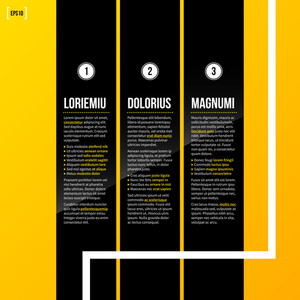 Vector Template With Three Vertical Options On Bright Yellow Background. Eps10
